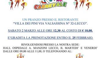 Pranzo per Carnevale del 2 Marzo 2019