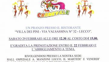 Pranzo di Carnevale (28/02/2020) - 15 € alla Villa dei Pini